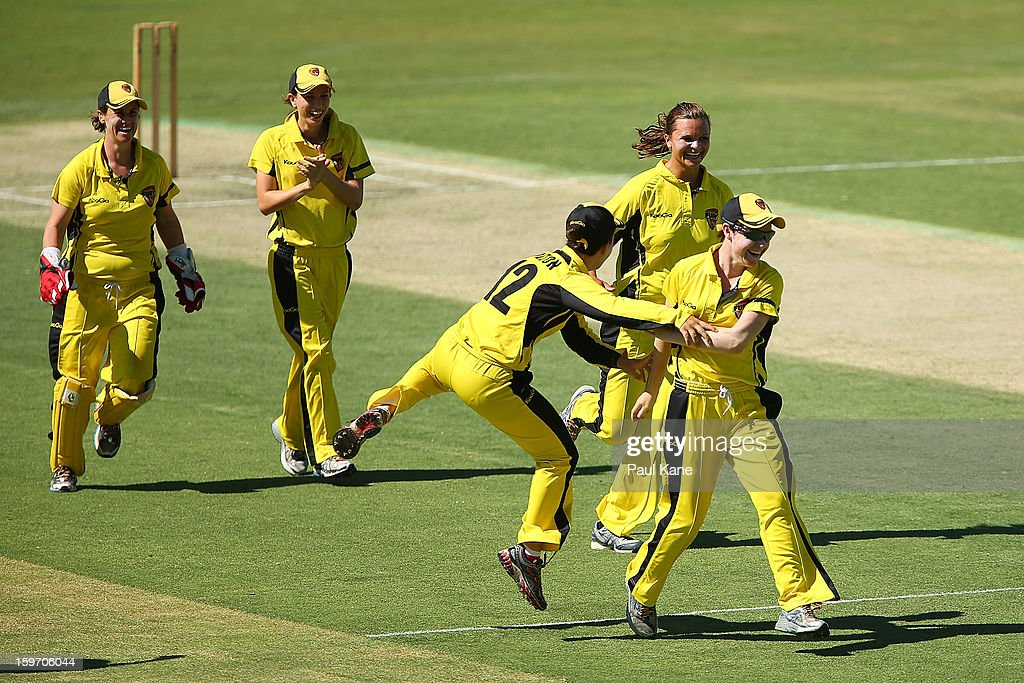 Renee Chappell of the Fury celebrates after running out Sarah Coyte of the Breakers during the women's Twenty20 final match between the NSW Breakers and the Western Australia Fury at WACA on January 19, 2013 in Perth, Australia.
