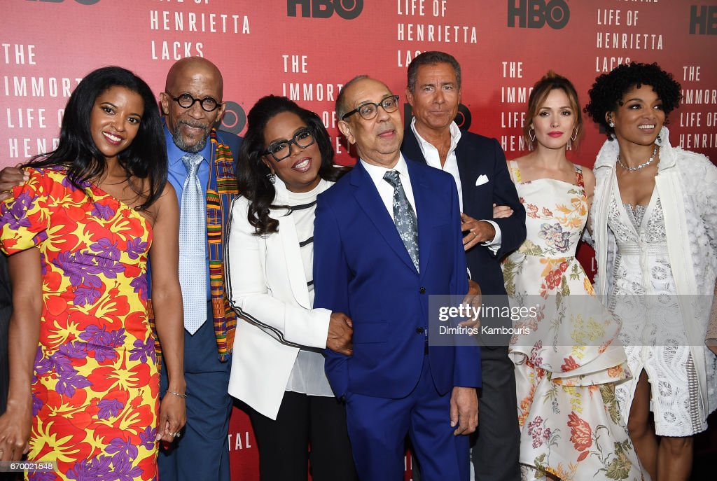 Renee Elise Goldsberry, Reg E. Cathey, Oprah Winfrey, George C. Wolfe, Richard Plepler, Rose Byrne and Lisa Arrindell attend 'The Immortal Life of Henrietta Lacks' premiere at SVA Theater on April 18, 2017 in New York City.