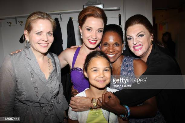 Renee Fleming Sierra Boggess Zoe Madeline Donovan mother Audra McDonald and Tyne Daly as 'Maria Callas' pose backstage at the hit play 'Master Class'...