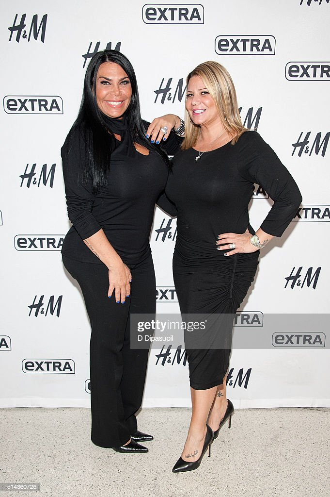 Renee Graziano and Karen Gravano of 'Mob Wives' visit 'Extra' at their New York studios at HM in Times Square on March 8 2016 in New York City