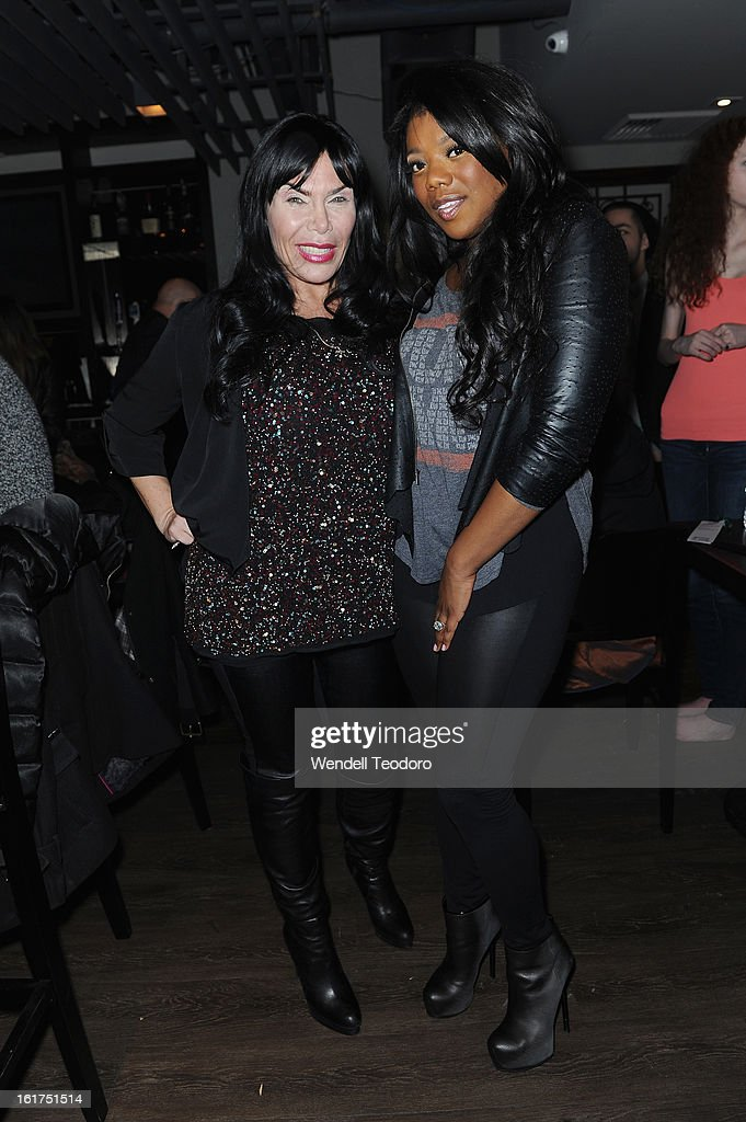 <a gi-track='captionPersonalityLinkClicked' href=/galleries/search?phrase=Renee+Graziano&family=editorial&specificpeople=7643222 ng-click='$event.stopPropagation()'>Renee Graziano</a> and Meeka Claxton backstage before the Chantilly Rich and Rich War show during Fall 2013 Mercedes-Benz Fashion Week at The Hudson Bond on February 14, 2013 in New York City.