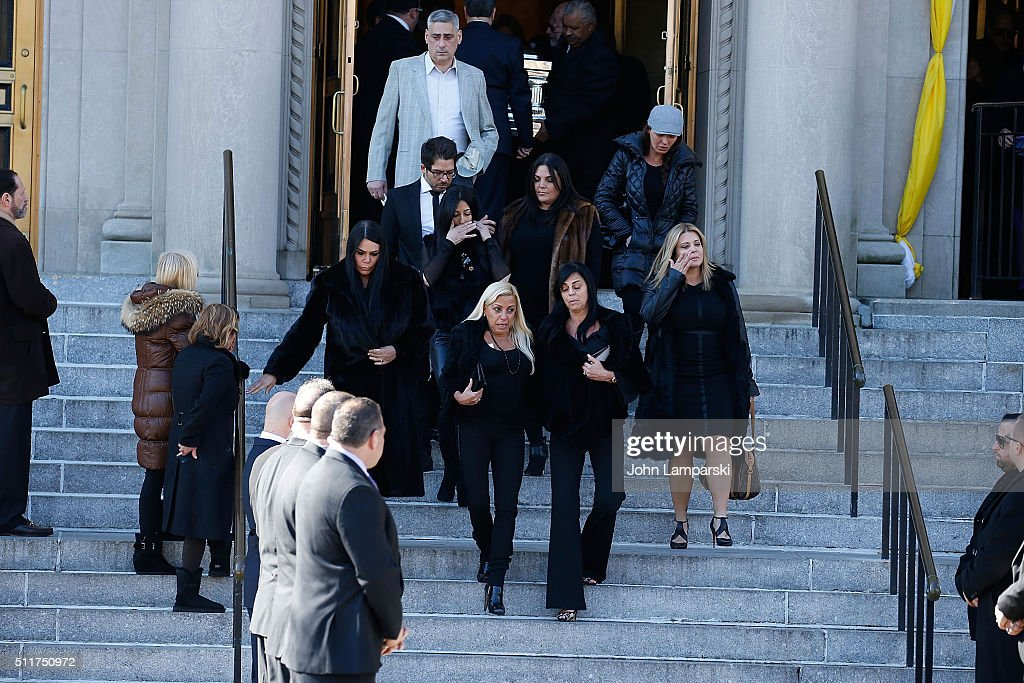 Renee Graziano Karen Gravano Drita D'Avanzo follow the family during the Funeral Service held for Angela 'Big Ang' Raiola on February 21 2016 in New...