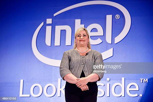 Renee James president of Intel Corp attends the Computex Taipei 2014 expo at the Taipei International Convention Center in Taipei Taiwan on Tuesday...