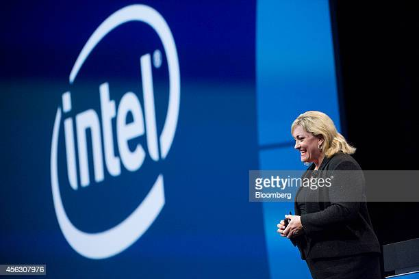 Renee James president of Intel Corp speaks during the Oracle OpenWorld 2014 conference in San Francisco California US on Sunday Sept 28 2014 Intel is...