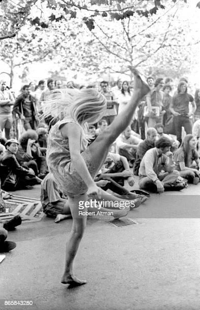 Renee Lebalister dances in the street during a rally on November 16 1969 in Berkeley California