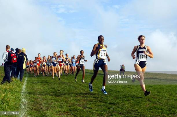 Renee Metevier of Colorado and Faithy Kamangila of Oral Roberts lead a pack of runners during the Division I Women's Cross Country Championship held...