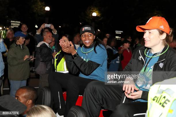Renee Montgomery and Lindsay Whalen of the Minnesota Lynx react during the Minnesota Lynx title parade on October 5 2017 at The University of...