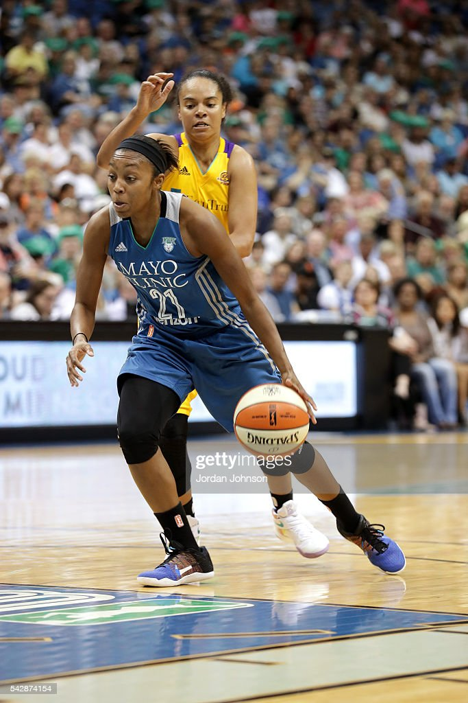 Renee Montgomery #21 of the Minnesota Lynx drives to the basket during the game against the Los Angeles Sparks during the WNBA game on June 24, 2016 at Target Center in Minneapolis, Minnesota.