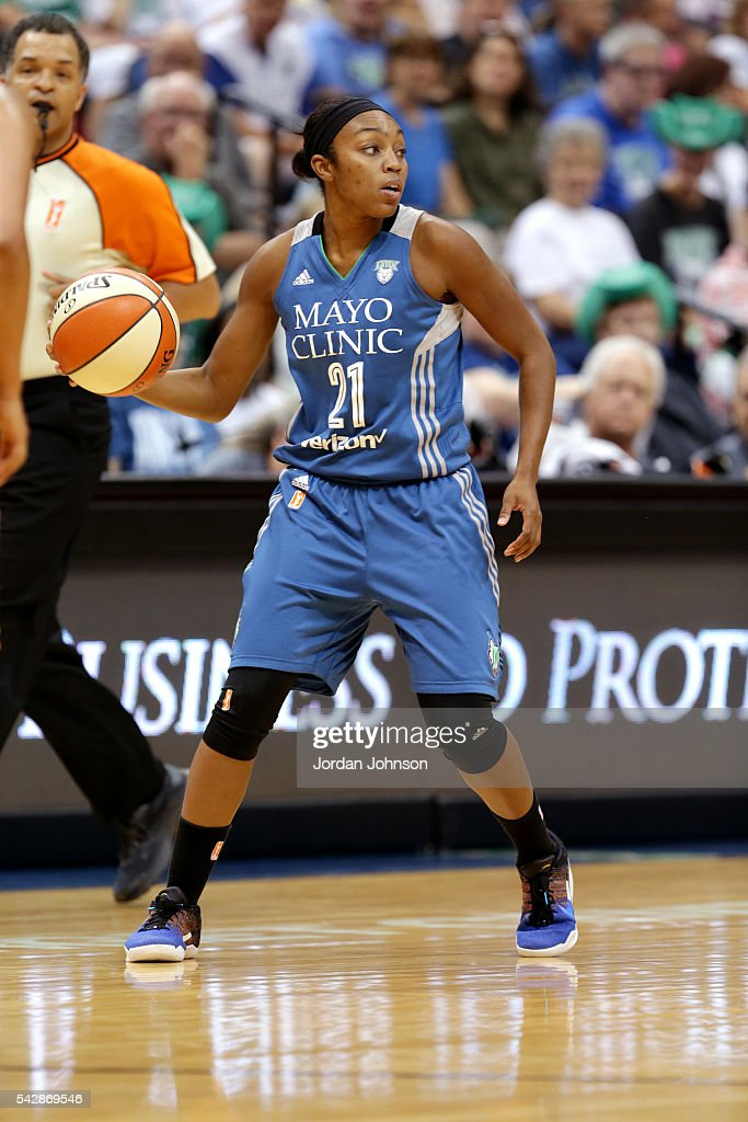 Renee Montgomery #21 of the Minnesota Lynx handles the ball during the game against the Los Angeles Sparks during the WNBA game on June 24, 2016 at Target Center in Minneapolis, Minnesota.