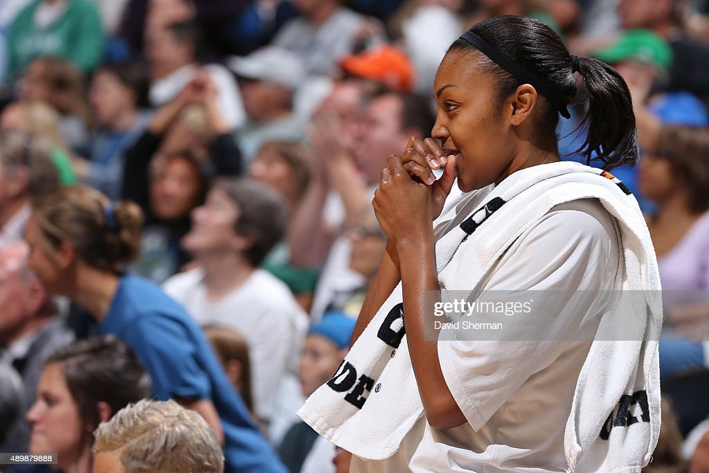 Renee Montgomery of the Minnesota Lynx looks on from the bench against the Phoenix Mercury during Game One of the WNBA Western Conference Finals on...
