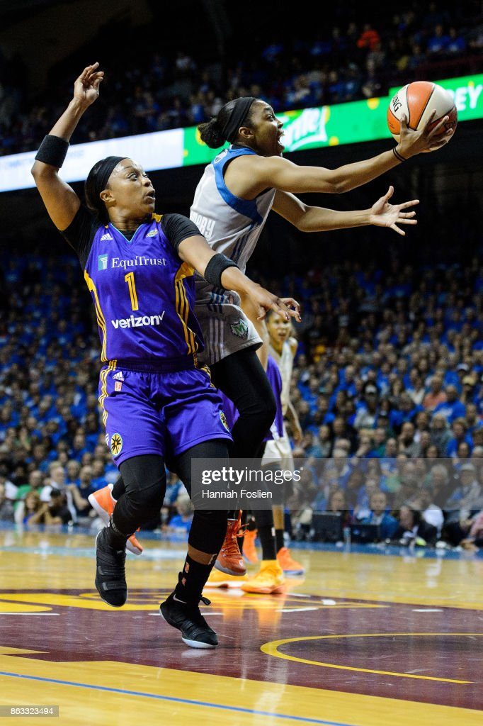 Renee Montgomery #21 of the Minnesota Lynx shoots the ball against Odyssey Sims #1 of the Los Angeles Sparks during the second quarter of Game Two of the WNBA Finals on September 26, 2017 at Williams in Minneapolis, Minnesota. The Lynx defeated the Sparks 70-68.