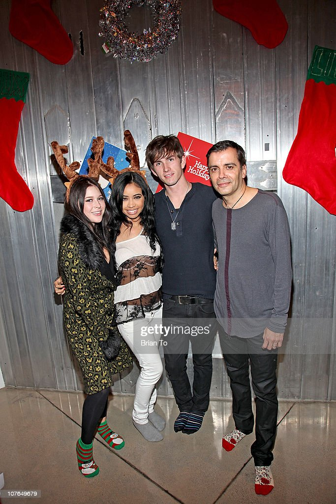Renee Olstead, Jessie Morrison, Sean Verchick, and James Costa attend Tacky Christmas Tree skirt party hosted by James Costa on December 16, 2010 in Los Angeles, California.