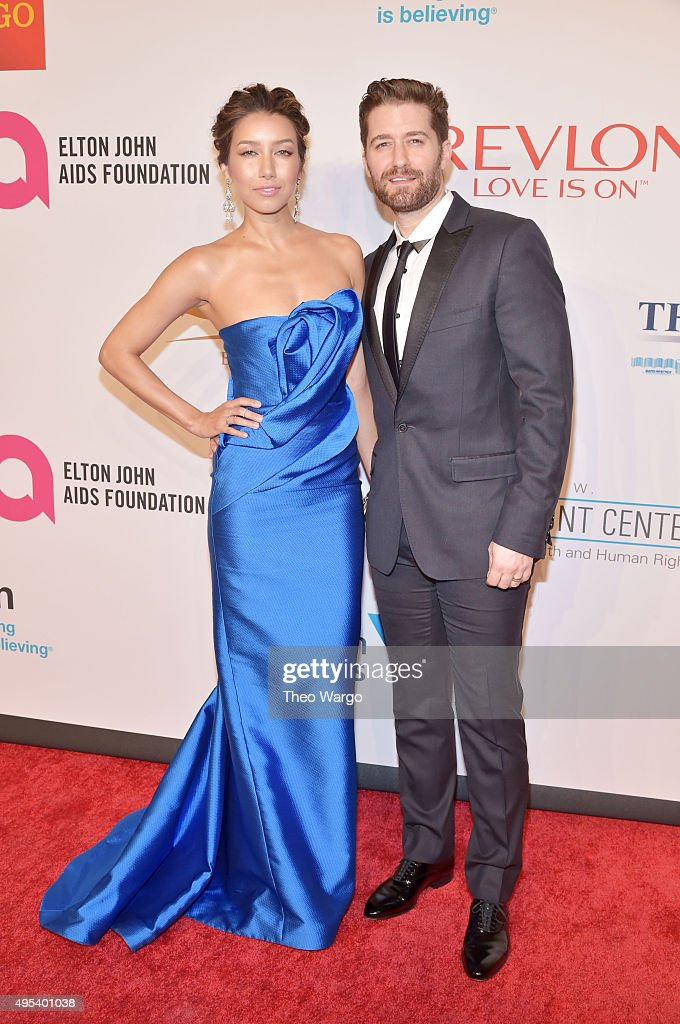 Renee Puente and actor Matthew Morrison attend Elton John AIDS Foundation's 14th Annual An Enduring Vision Benefit at Cipriani Wall Street on...