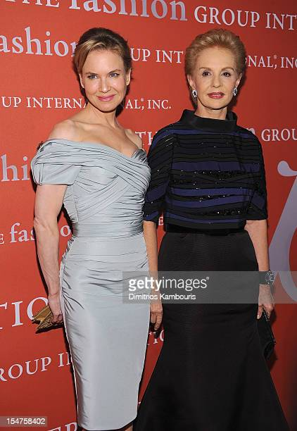 Renee Zellweger and Carolina Herrera attend the 29th Annual Fashion Group International Night Of Stars at Cipriani Wall Street on October 25 2012 in...
