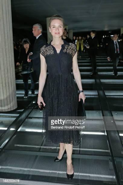Renee Zellweger arrives to attend the Miu Miu Fall/Winter 2013 ReadytoWear show as part of Paris Fashion Week on March 6 2013 in Paris France