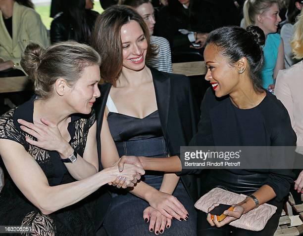Renee Zellweger Rebecca Hall and Zoe Saldana attend the Miu Miu Fall/Winter 2013 ReadytoWear show as part of Paris Fashion Week on March 6 2013 in...