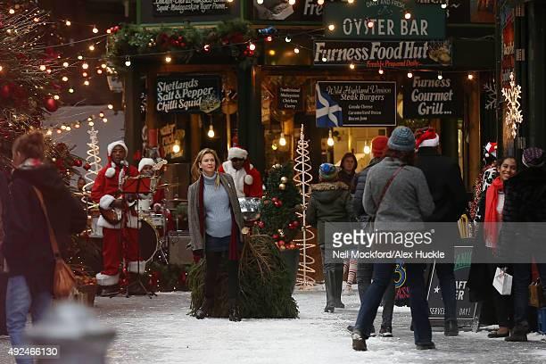 Renee Zellweger seen on set of Bridget Jones' Baby at Borough Market on October 12 2015 in London England