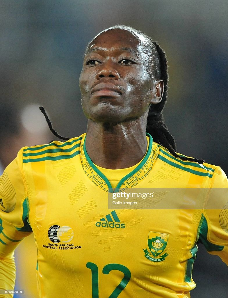 Reneilwe Letsholonyane of South Africa is shown after his goal during the International Friendly match between South Africa and Guatemala at the Peter Mokaba Stadium on May 31, 2010 in Polokwane, South Africa.