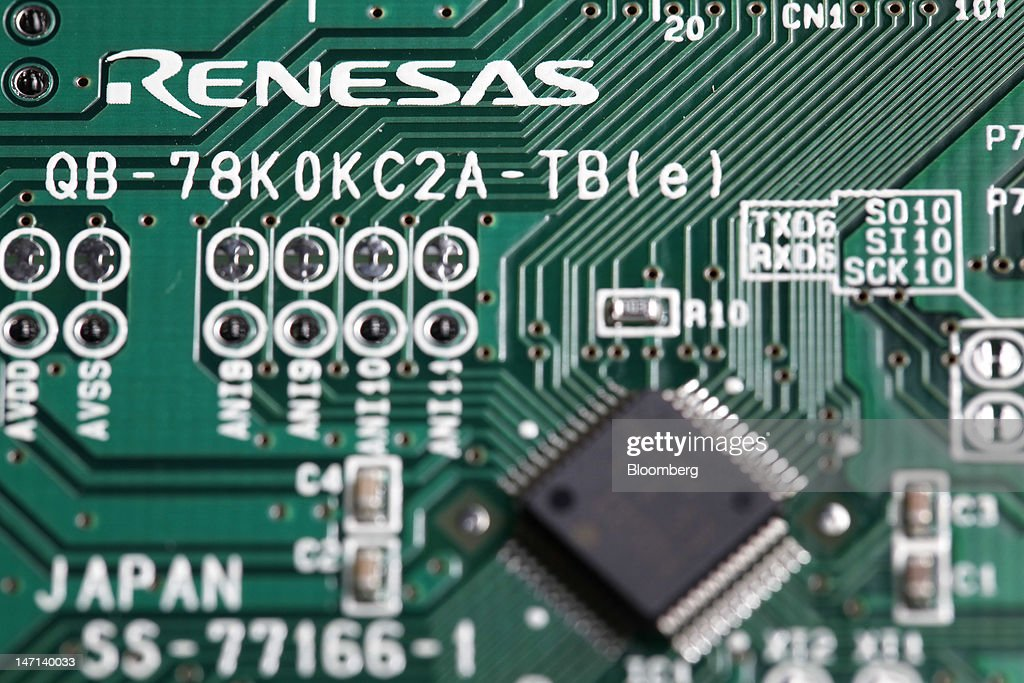 A Renesas Electronics Corp. central processing unit (CPU) board and microcontroller are arranged for a photograph in Soka City, Saitama Prefecture, Japan, on Saturday, June 23, 2012. Renesas said it reached a basic agreement to receive support from its largest shareholders, while the company's major lenders will provide additional funding, as it seeks to recover from losses. Photographer: Kiyoshi Ota/Bloomberg via Getty Images