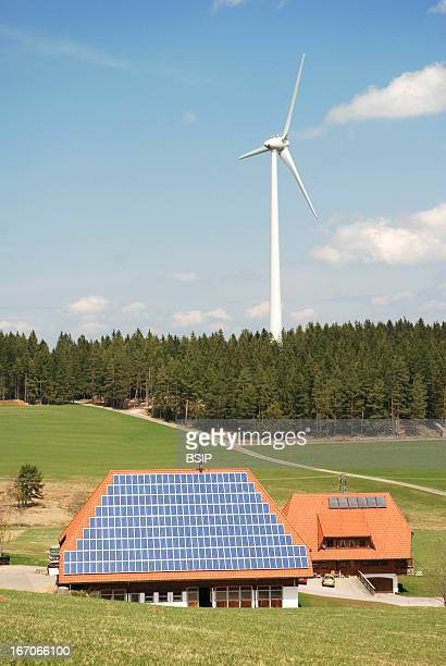Renewable energy In Black Forest Germany farm equipped of solar panels near a wind power generator