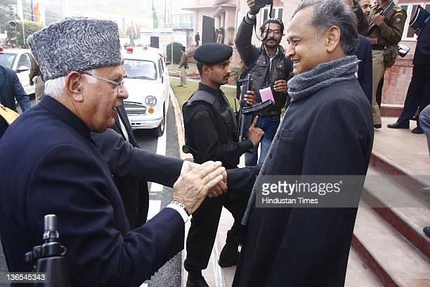 Renewable Energy Minister Farooq Abdullah is welcomed by Rajasthan CM Ashok Gehlot on the first day of the Prawasi Bharatiya Diwas at Birla...