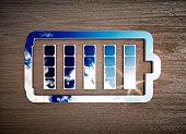 Renewable energy storage sign on dark wooden desk. 3d illustration.