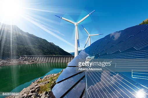 Renewable Energy - Sunlight Wind Rain : Stock Photo