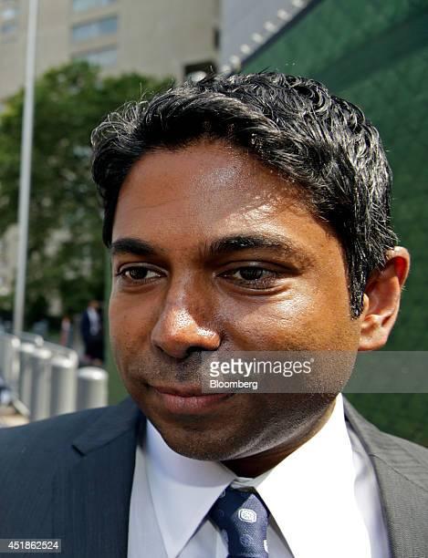 Rengan Rajaratnam the younger brother of Galleon Group LLC cofounder Raj Rajaratnam exits federal court in New York US on Tuesday July 8 2014 Rengan...