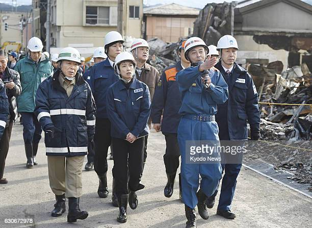 Renho head of Japan's main opposition Democratic Party visits the Sea of Japan coastal city of Itoigawa Niigata Prefecture on Dec 29 where an inferno...