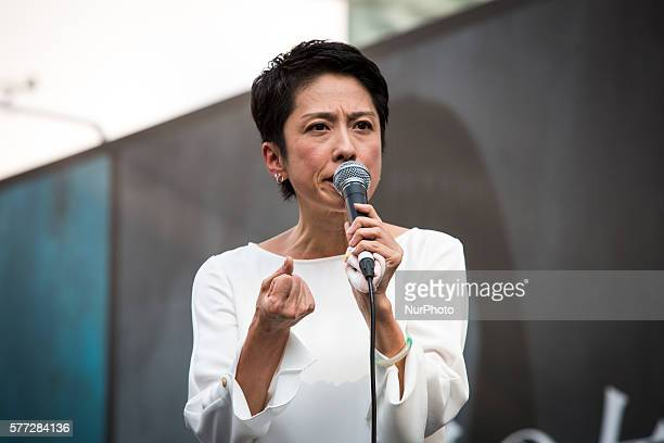 Renho Murata a Japanese politician from Democratic Party of Japan delivers campaign speech to support candidate Journalist Shuntaro Torigoe a...
