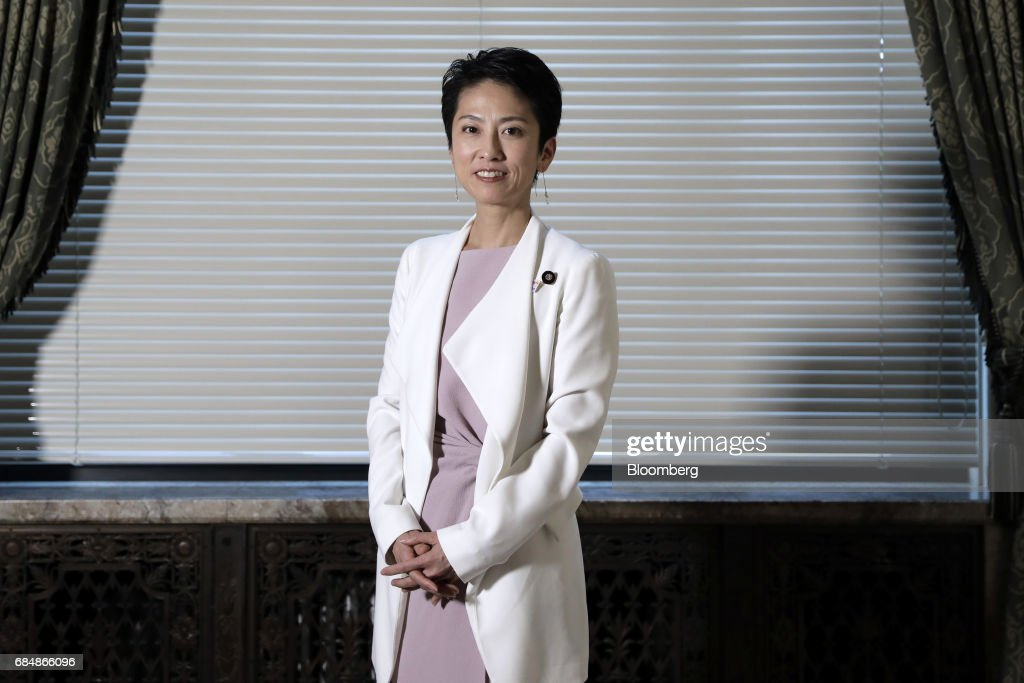 Renho, president of the Democratic Party (DP), poses for a photograph in Tokyo, Japan, on Thursday, May 18, 2017. The most prominent leader of Japans beleaguered opposition is seeking to dent Prime Minister Shinzo Abes popularity, blasting his failure to uplift women and rush to change the countrys pacifist constitution. Photographer: Kiyoshi Ota/Bloomberg via Getty Images