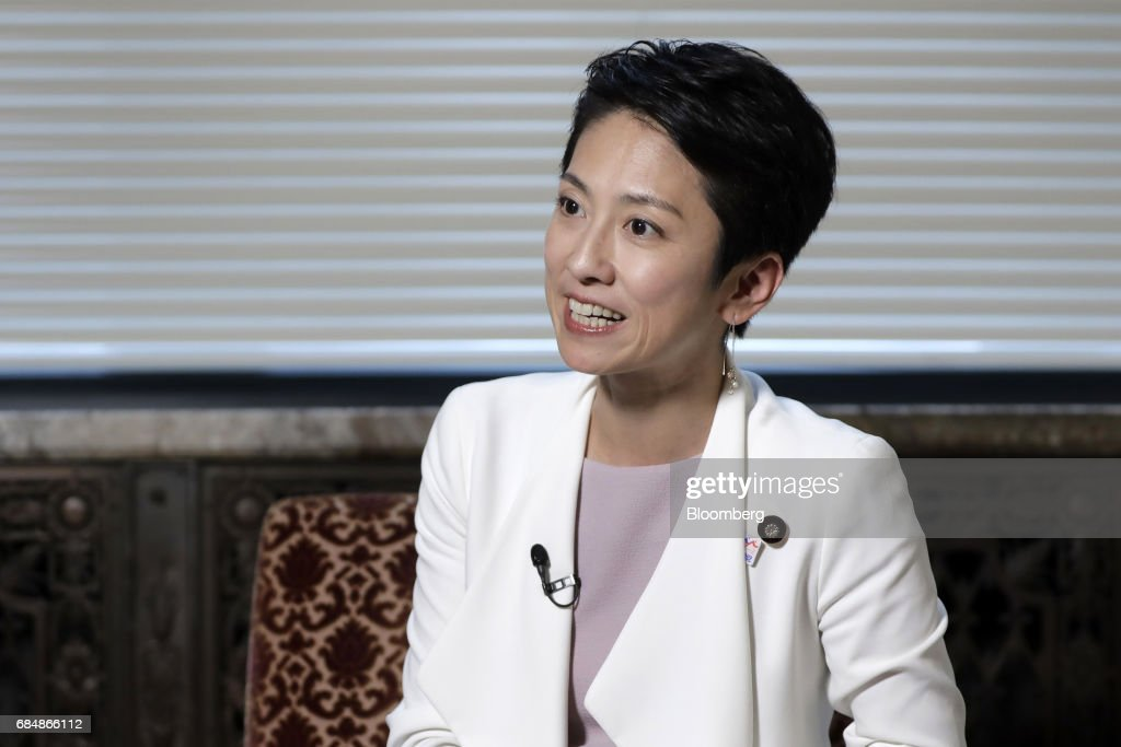 Renho, president of the Democratic Party (DP), speaks during an interview in Tokyo, Japan, on Thursday, May 18, 2017. The most prominent leader of Japans beleaguered opposition is seeking to dent Prime Minister Shinzo Abes popularity, blasting his failure to uplift women and rush to change the countrys pacifist constitution. Photographer: Kiyoshi Ota/Bloomberg via Getty Images