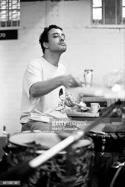 Reni drummer with The Stone Roses rehearses in Manchester United Kingdom 1994
