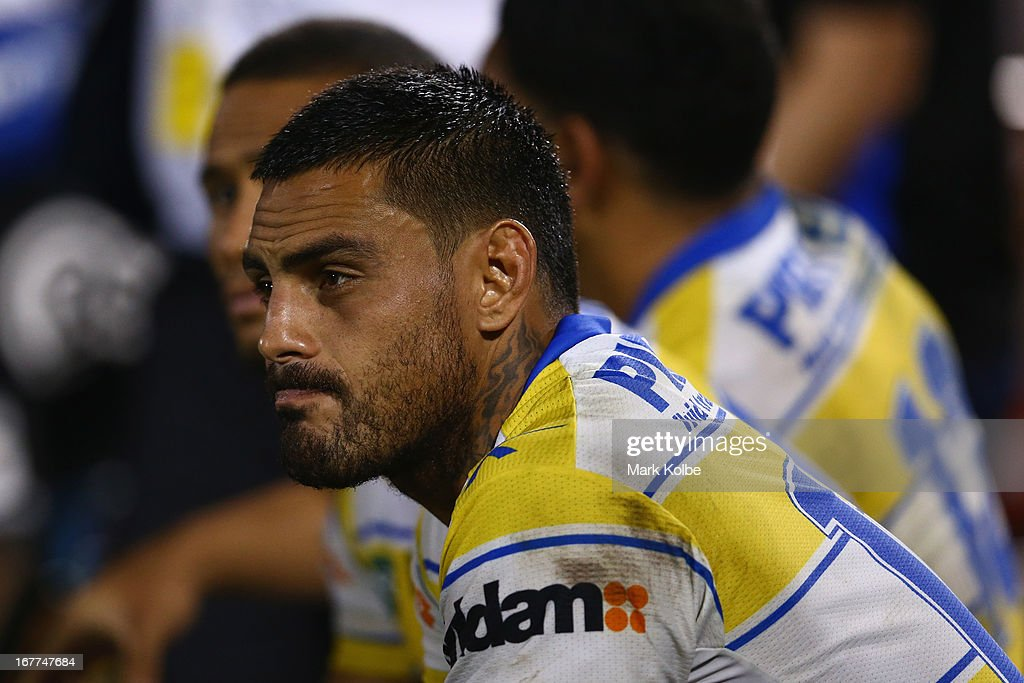 <a gi-track='captionPersonalityLinkClicked' href=/galleries/search?phrase=Reni+Maitua&family=editorial&specificpeople=241540 ng-click='$event.stopPropagation()'>Reni Maitua</a> of the Eels looks dejected as he watches on from the bench during the round seven NRL match between the Penrith Panthers and the Parramatta Eels at Centrebet Stadium on April 29, 2013 in Penrith, Australia.