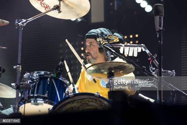 Reni of the British iconic rock band The Stone Roses perform on stage at Wembley Stadium London on June 17 2017 The band consists in Ian Brown John...