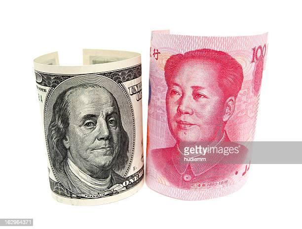 Renminbi & U.S. dollar isolated on white background