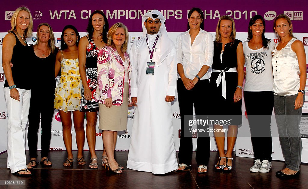 Rennae Stubbs of Australia, Lisa Raymond of the United States, Vania King of the United States, Yaroslava Shvedova of Kazakhstan, WTA CEO Stacey Allaster, General Secretary of the Qatar Tennis Federation Yousef Al Obaidly, Katarina Srebotnik of Slovenia, Kveta Peschke of the Czech Republic, Flavia Pennetta of Italy and Gisela Dulko of Argentina pose for photographers after the doubles draw ceremony during day three of the WTA Championships at the Khalifa Tennis Complex on October 28, 2010 in Doha, Qatar.