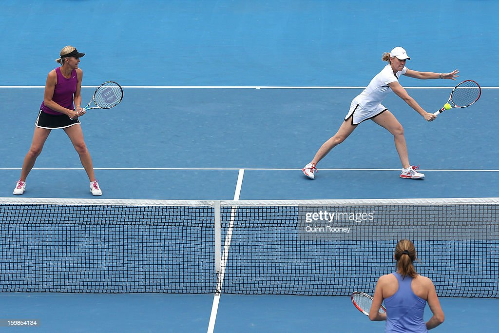 Rennae Stubbs of Australia plays a shot in her third round legends doubles match withNicole Bradtke of Australia against Amelie Mauresmo of France and Lindsay Davenport of the United States during day nine of the 2013 Australian Open at Melbourne Park on January 22, 2013 in Melbourne, Australia.
