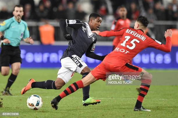 Rennes' Algeria defender Ramy Bensebaini vies with Bordeaux's Brazilian forward Malcom during the French Ligue 1 football match between Bordeaux and...