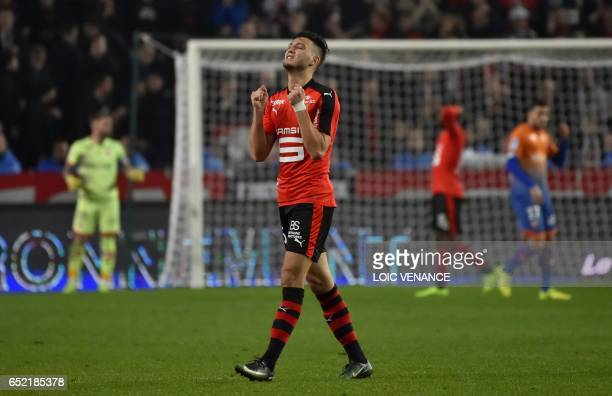 Rennes' Algerian defender Ramy Bensebaini gestures during the French L1 football match between Rennes and Dijon at Roazhon Park Stadium in Rennes on...