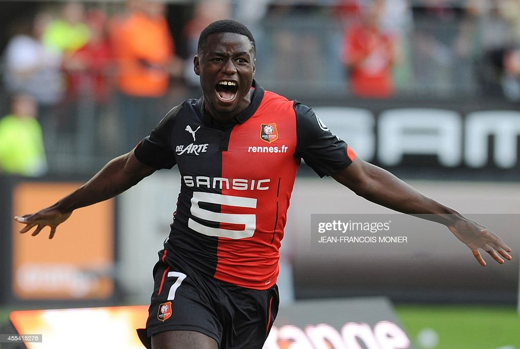 Rennes' Cameroon forward PaulGeorges Ntep de Madiba celebrates after scoring during the French L1 football match between Stade Rennais FC and Paris...
