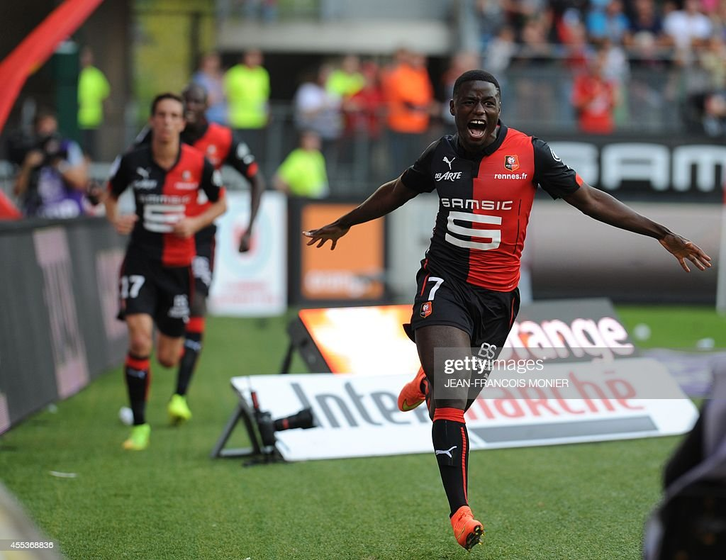 Rennes' Cameroonese forward PaulGeorges Ntep de Madiba reacts after his team scored during the French L1 football match between Stade Rennais FC and...