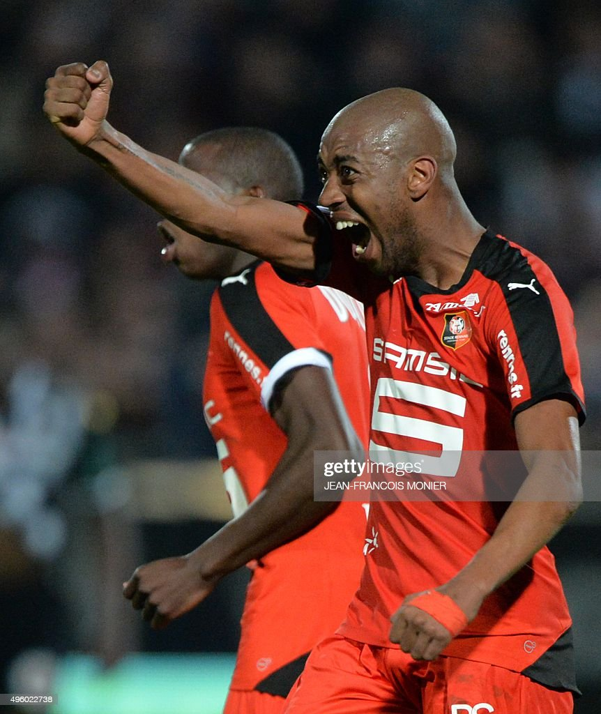 Rennes' Cape Verdean midfielder Gelson Fernandes jubilates after scoring during the French L1 football match between Angers and Rennes on November 6...
