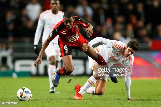 Rennes' Cape Verdean midfielder Gelson Fernandes vies for the ball with Lorient's French defender Francois Bellugou during the French L1 football...