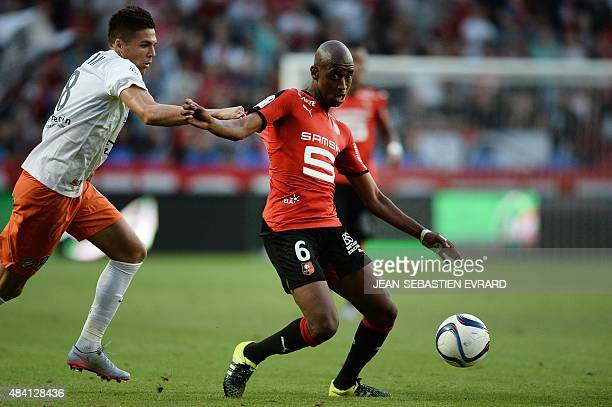Rennes' Cape Verdean midfielder Gelson Fernandes vies with Montpellier's French midfielder Jonas Martin during the French L1 football match between...