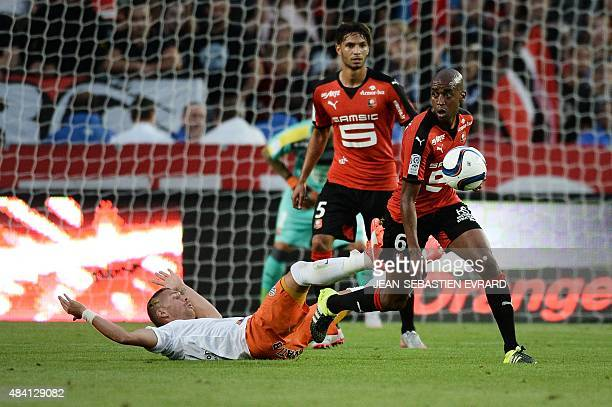 Rennes' Cape Verdean midfielder Gelson Fernandes vies with Montpellier's French forward Anthony Mounier in front of Rennes' Portuguese defender Pedro...
