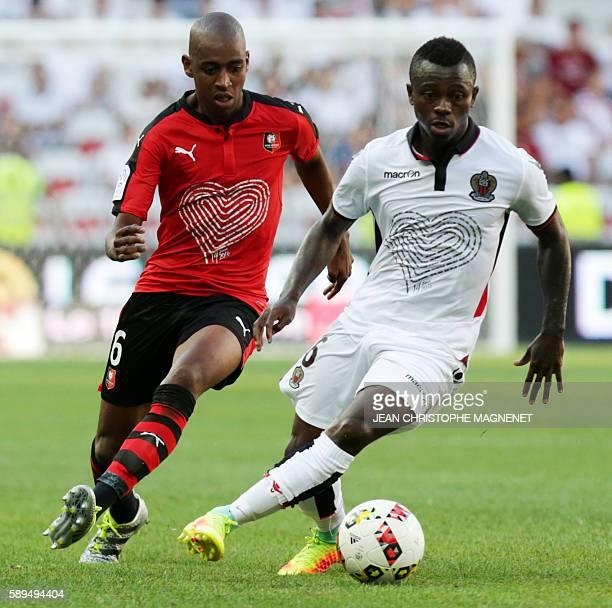 Rennes' Cape Verdean midfielder Gelson Fernandes vies with Nice's Ivorian midfielder Jean Michael Seri during the French L1 football match Nice...