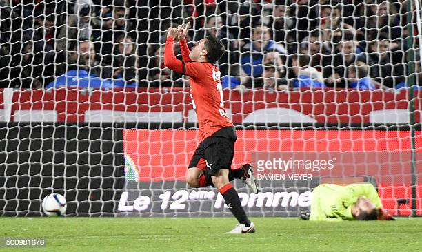 Rennes' Colombian midfielder Juan Fernando Quintero celebrates after scoring a goal during the French L1 football match Rennes against Caen on...