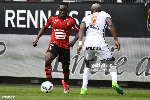 Rennes' Congolese forward Firmin Mubele Ndombe vies with Montpellier's Malian midfielder Yacouba Sylla during the French L1 football match Rennes...