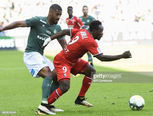 Rennes' Congolese forward Firmin Mubele outruns SaintEtienne' Swiss defender Saidy Janko during the French L1 football match AS SaintEtienne vs Stade...